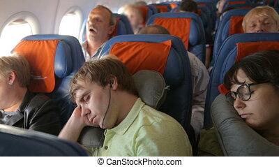 gens, avion, dormir