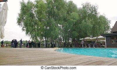 gens, barbouillage, piscine