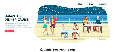 gens, bateau, croisière, vecteur, plat, touriste, dîner romantique, illustration.