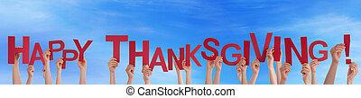 gens, beaucoup, ciel, thanksgiving, tenue, heureux