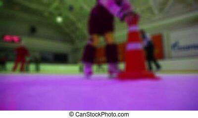 gens, beaucoup, glace, mouvement, patinage, patinoire, vue