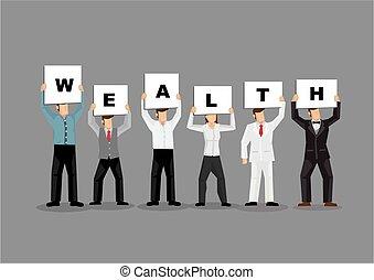 gens, blanc, titre, tenue, gris, illustration, cartes, planche, richesse, arrière-plan., business