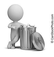 gens, -, boîte, petit, déchets ménagers, 3d