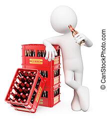 gens., bouteille bière, blanc, homme, boire, 3d