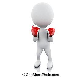 gens, boxe, blanc, gloves., rouges, 3d
