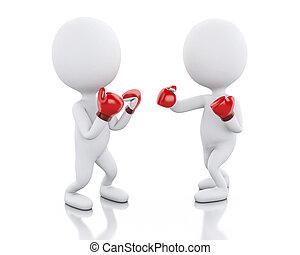 gens, boxe, deux, match., blanc, 3d