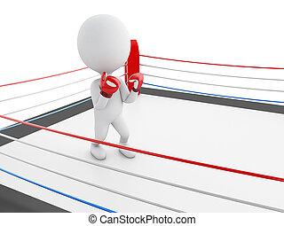 gens, boxe, ring., gants, blanc rouge, 3d