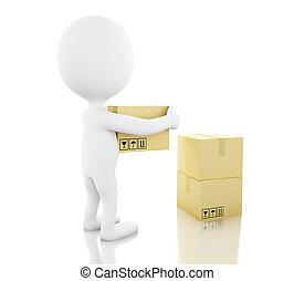 gens, boxes., porter, blanc, carton, 3d