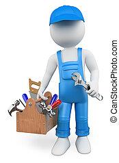 gens., bricoleur, blanc, boîte outils, 3d