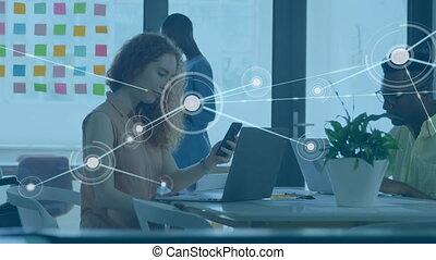 gens bureau, contre, toile, connexions, fonctionnement
