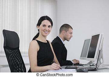 gens bureau, fonctionnement, client, aide, groupe, business, bureau
