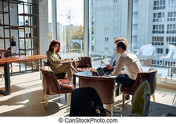 gens bureau, groupe, espace