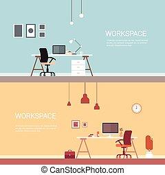 gens bureau, non, lieu travail, informatique, espace de travail, chaise bureau, vide