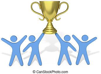gens, célébrer, effort équipe, gagner, trophée