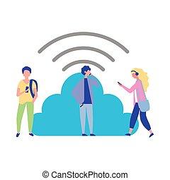gens, calculer mobile, connexion, utilisation, nuage