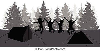 gens, camping, sauter, nature., heureux, forest., illustration., vecteur, silhouettes