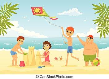 gens, caractère, -, illustration, enfants, plage, dessin animé, heureux
