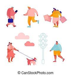 gens, caractères, passage clouté, road., hommes, plat, dessin animé, en mouvement, femmes, vecteur, marche, ville, travail, fond, hâte, rue., ensemble, lumières, trafic, piétons, blanc, illustration
