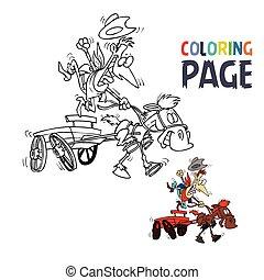gens, cavalcade, chariot, dessin animé, coloration, page