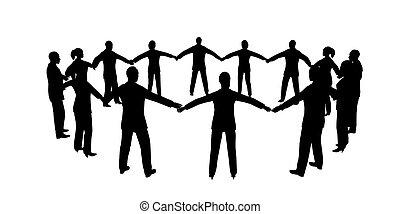gens, cercle, mâle, femme