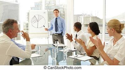 gens, co, applaudir, leur, business