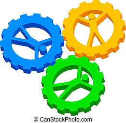 gens, cog-wheels, icône