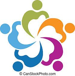 gens, collaboration, cœurs, vecteur, 5