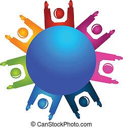 gens, collaboration, heureux, autour de, mondiale