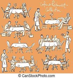 gens, collection., restaurant, -, main, dessiné, café