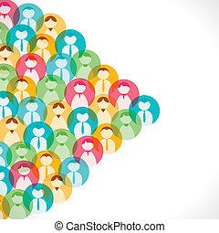 gens, coloré, icône