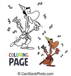 gens, coloration, dessin animé, page, célébrer