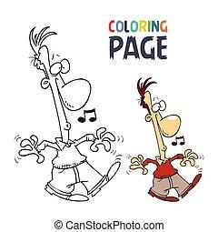 gens, coloration, dessin animé, page, chant
