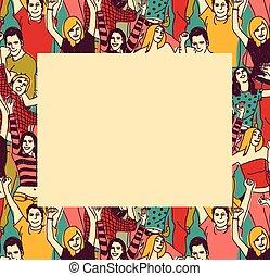 gens colorent, cadre, jeune, frontière, heureux