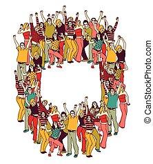 gens colorent, jeune, actif, désinvolte, heureux