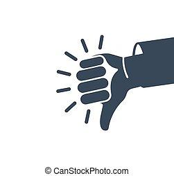 gens colorent, résumé, sourd, language., bas, résultat, humain, qualité, pouce, isolé, button., logotype., aversion, logo., signe., symbole., main, négatif, rejet, illustration., gris, mauvais, vecteur, icon., geste