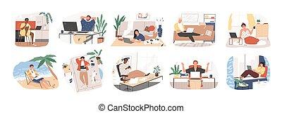 gens, commode, fonctionnement, travailleur indépendant, travail, soi, femme, plage, maison, workplace., illustration., décontracté, plat, indépendant, confortable, ou, conditions, concept., employé, allure, ensemble, vecteur, homme, caractère
