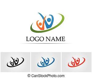 gens, communauté, symboles, gabarit, logo, soin