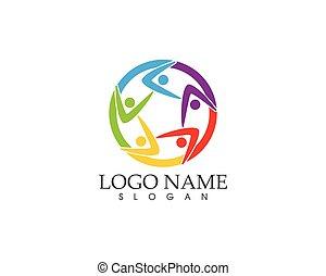 gens, communauté, vecteur, illustration, icône, soin