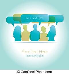 gens, communiquer, vecteur, social