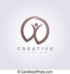 gens, compagnie, vecteur, conception, gabarit, logo, heureux, symbole, célébrer, icône