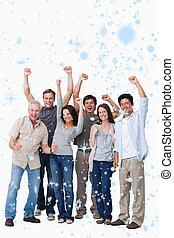 gens, composite, groupe, applaudissement, image