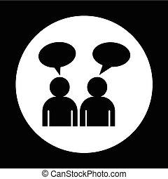 gens, conception, parler, illustration, icône