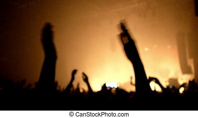 gens, concert., applaudir, lot