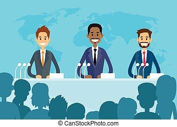 gens, conférence, silhouettes, illustration, dirigeants, juif, indien, international, vecteur, président, groupe, plat, réunion, arabe