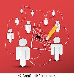 gens, connection., social, média, symbole, à, crayon, et, chèque, mark.
