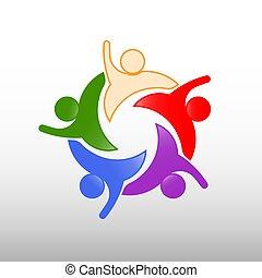 gens, connexions, vecteur, cinq, gabarit, logo, heureux