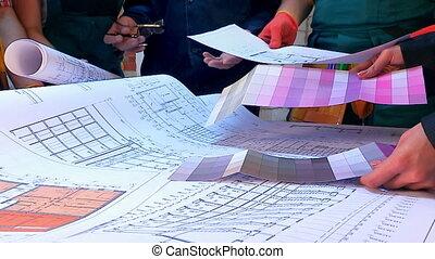 gens, constructeur, travail, site., construction, dessins, mains
