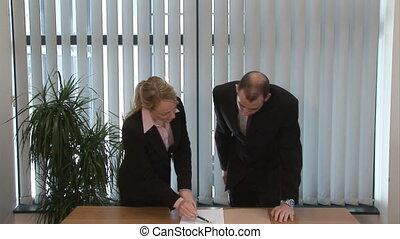 gens, contrat, business, signer