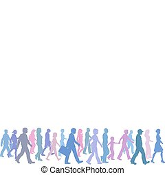 gens couleur, groupe, promenade, suivre, direction, éditorial