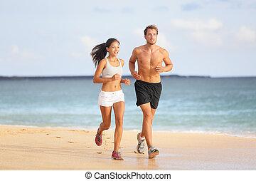 gens, couple, -, jeune, courant, jogging, plage
